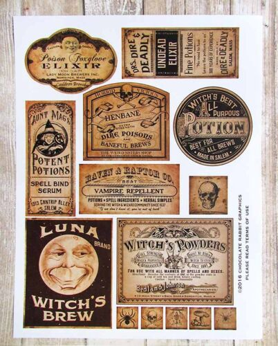 Halloween Potion Labels, Vintage Style Apothecary, Uncut Sticker Sheet 14 Labels