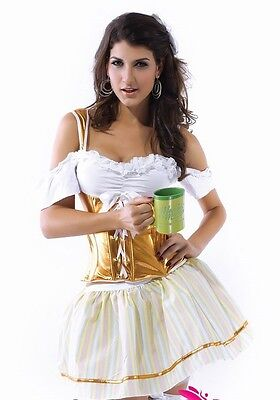 Sexy Women's Serving Wench Beer Festival Fancy Dress Costume Outfit Gold - Serving Wench Sexy Kostüm
