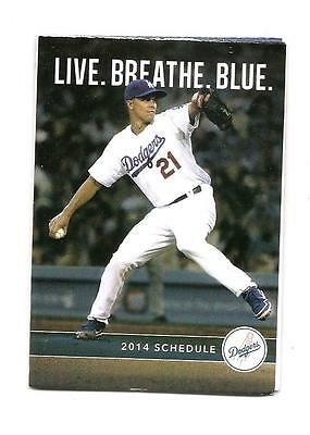 Los Angeles Dodgers Mlb Mini Pocket Schedule 2014 Zack Greinke