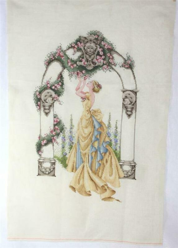 Finished Completed Mirabilia Rose of Sharon Cross Stitch on Zweigart Linen