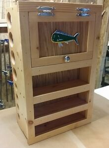 Fly rod reel storage cabinet pick stain fish fly fishing for Fishing rod storage cabinet