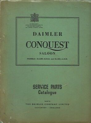 DAIMLER CONQUEST SALOON ORIGINAL 1953 FACTORY SERVICE PARTS CATALOGUE
