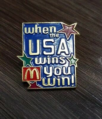 McDonalds Employee Pins ~ USA PATRIATISM~ WHEN THE USA WINS YOU WIN
