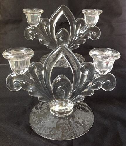 Pair of Cambridge Glass Candlestick Candle Holder Daffodil Etched Double Light