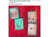 Union Jack Earrings & Necklace sets £3 each