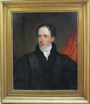 LARGE 19th Century PORTRAIT REGENCY YOUNG GENTLEMAN Antique Oil Painting