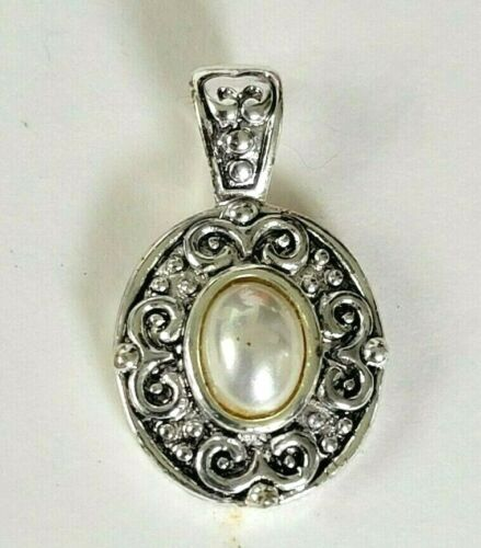 Vintage Silver Tone Pendant Faux Pearl Signed