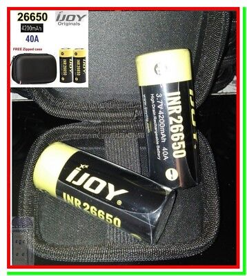 2 Batterie 26650 IJOY Pila Ricaricabile Litio 4200mAh 40A Li-ion Lithium