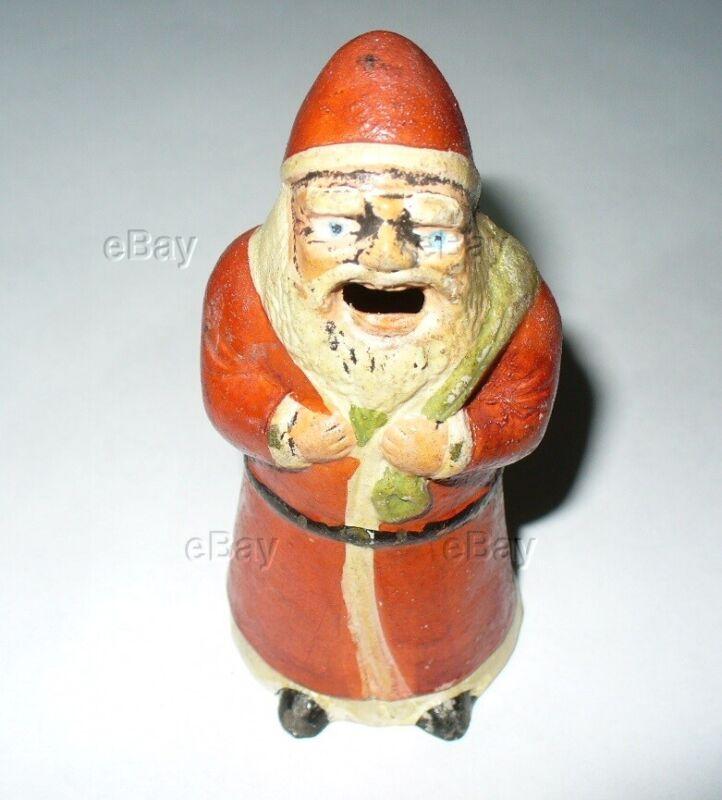 ANTIQUE RARE SANTA CLAUS FIGURAL SMOKER INCENSE BURNER CLAY POTTERY CHRISTMAS