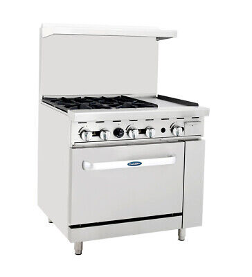 Atosa Cookrite Ato-4b12g 36-inch 4 Burner Heavy Duty Gas Range W 12-in Griddle