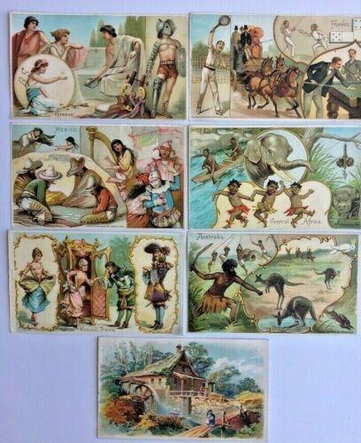 7 VICTORIAN ARBUCKLE BROS. COFFEE TRADE CARDS. CIRCA: 1893