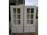 Pair of cream painted wall mounted cupboards