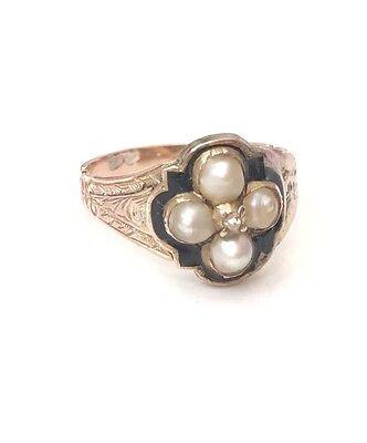 Pretty Georgian Diamond & Pearl 15ct Gold Ring circa 1800