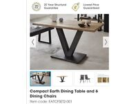 Furniture Village compact Earth dining table and 6 chairs