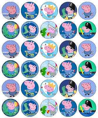 Peppa Pig George Pig Cupcake Toppers Edible Wafer Paper BUY 2 GET 3RD FREE! ()