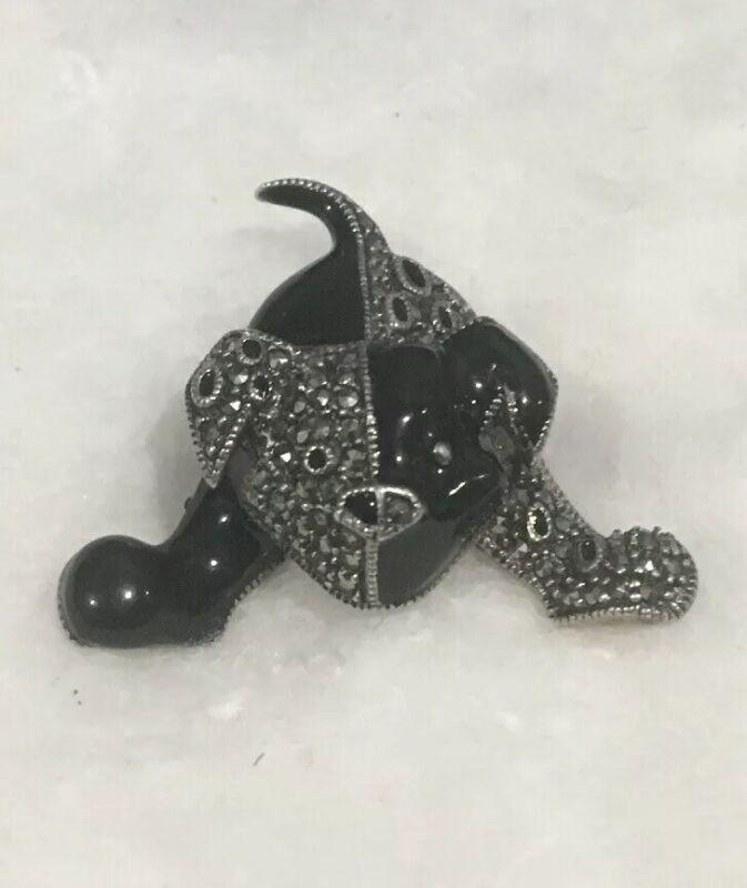 Vintage Stering Disney Black Enamel Marcasite Dog Pig Brooch