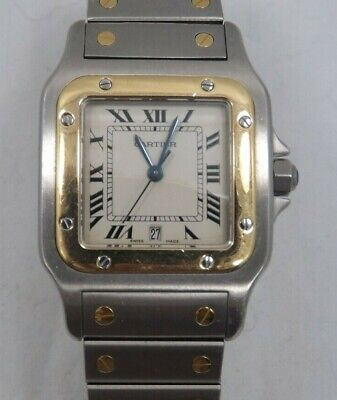 Cartier SANTOS Yellow Gold and Stainless Steel Mens Watch (T1537)