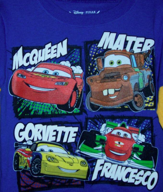 Disney Cars Mater McQueen Gorvette Francesco Kid LS T Tee Shirt Toddler Boys 4T