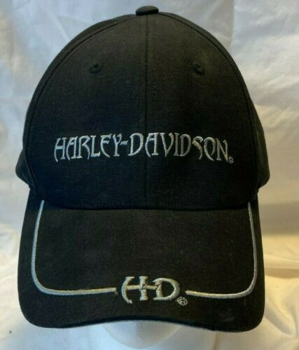 Harley Davidson Hd Black Hat Cap motorcycle Fitted Auth embroidered L XL 0103819