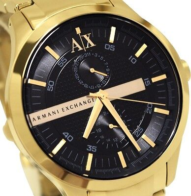 Armani Exchange AX2122 Men's Gold Tone Stainless Steel Band Black Dial watch