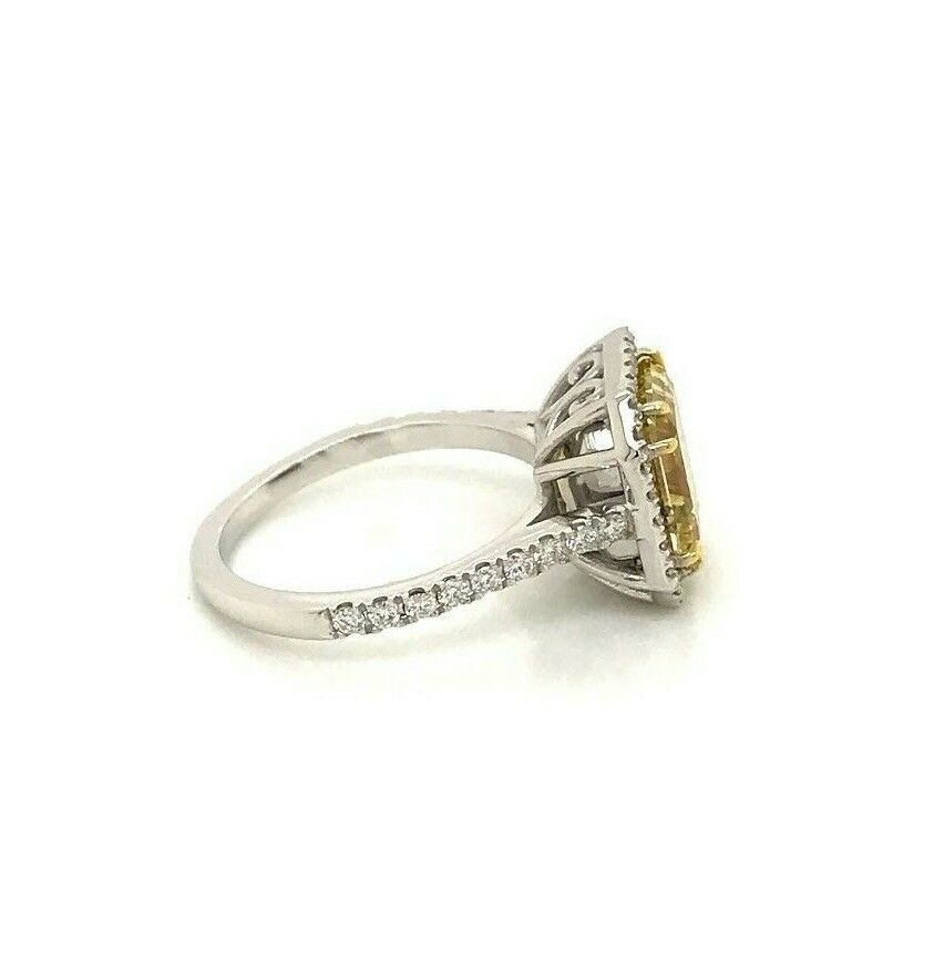 GIA Certified 4.04 Ct Fancy Yellow Square Diamond Engagement Ring 18k Gold 8