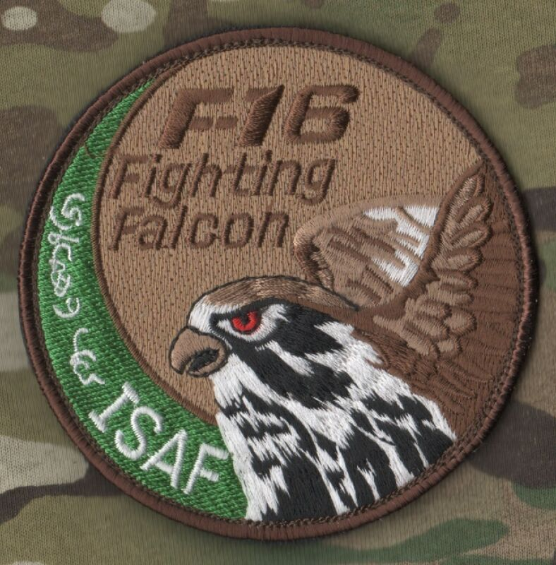 F-16 FIGHTING FALCON SWIRL SHOULDER SLEEVE INSIGNIA: KANDHAR ISAF F-16 SWIRL