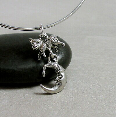 Silver Cow Jumped over the Moon Charm - Nursery Rhyme Pendant Jewelry (Cow Jumped Over The Moon Nursery Rhyme)