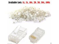 Cat 5e 6e RJ45 Connector Network Cable 8 Pairs Modular Plug 8P8C Crimping End