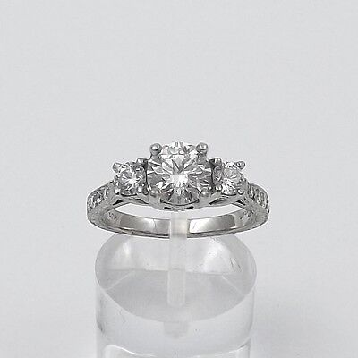 Platinum Coast Hand Engraved 1.78ctw Round 3 Stone Diamond Engagement Ring Sz6.5