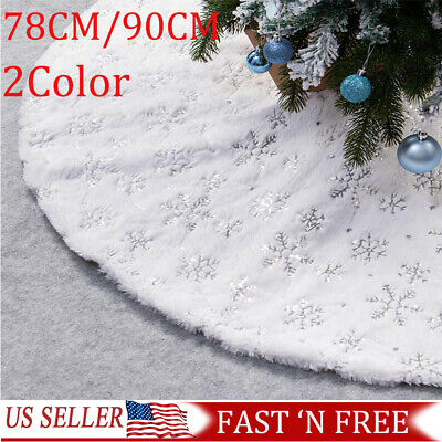 2019 NEW Christmas Tree Skirt Large White Luxury Faux Fur Snowflakes Gold/Silver ()