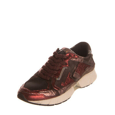 RRP€140 CRIME LONDON Leather Sneakers Size 37 UK 4 US 7 Metallic Crumpled Effect