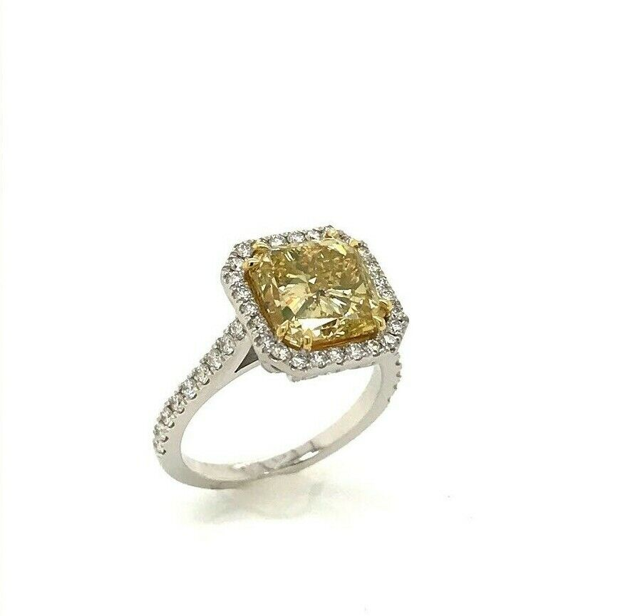 GIA Certified 4.04 Ct Fancy Yellow Square Diamond Engagement Ring 18k Gold
