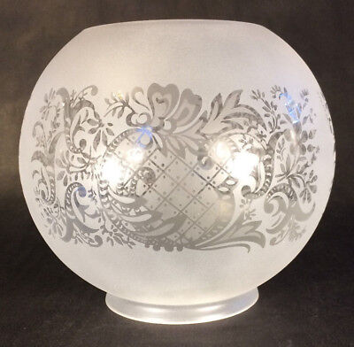 """4"""" fitter Satin Frosted Bow Scroll Floral Etched Gas Oil Ball Lamp Shade BS502i"""