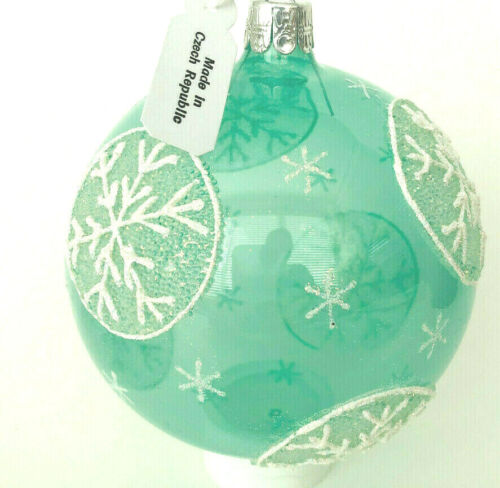 Neiman Marcus LIGHT AQUA BALL with SNOWFLAKES ORNAMENT * CZECH MOUTH-BLOWN * NWT