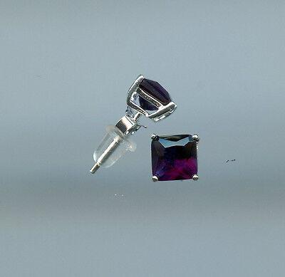 925 SILVER, 1/3 CARAT 4MM PRINCESS CUT CREATED SAPPHIRE PRONG SET EARRINGS
