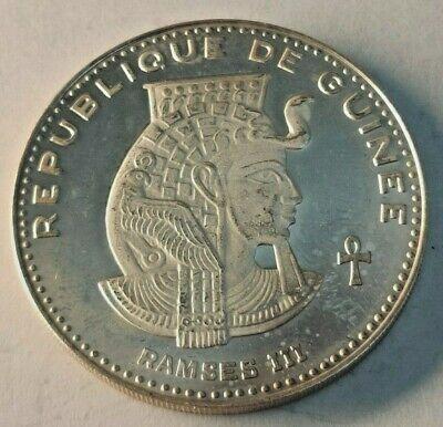 500 Francs Guinéens 1970 argent République de Guinée GUINEA RAMSES III 28,70 gr