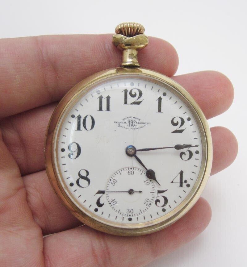 Vintage Ball Company 21 Jewels Gold Plated Railroad Pocket Watch B246092