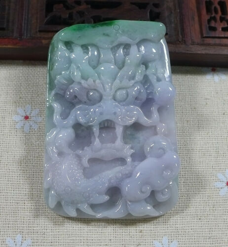 Fine Natural Type A Lavender Jadeite Jade Ruyi Dragon Pendant 2600