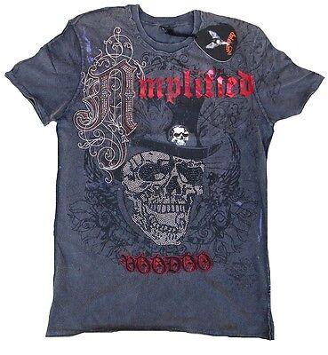 Voodoo Adult Star (Rhinestone Amplified Saint & Sinner Top Hat Skull Voodoo Rock Star Vip T-SHIRT)