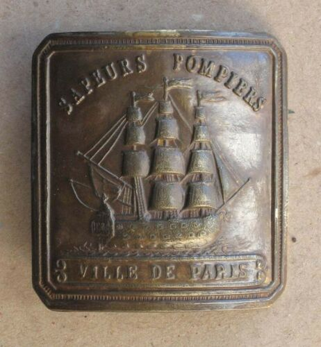 ANTIQUE FRENCH BRASS FIREMAN OFFICER BELT BUCKLE / PARIS / 19th C.