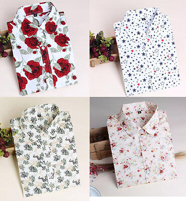 Autumn Vintage Women Cotton Tops Loose Long Sleeve Floral Printing Shirt Blouse