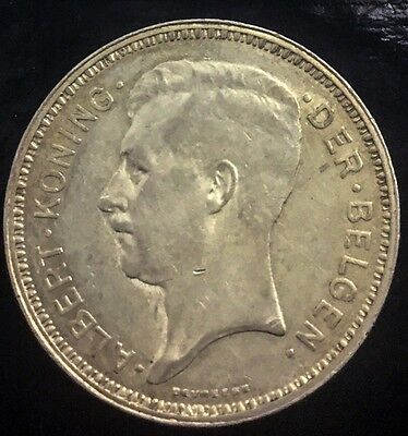 BELGIUM 1934 20 FRANCS SILVER KING ALBERT