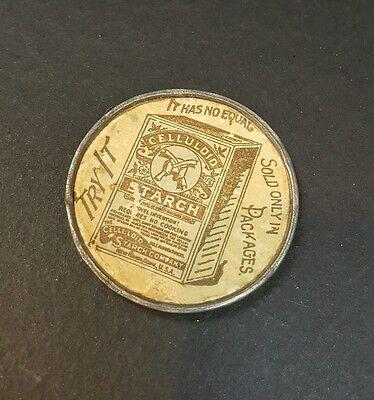 Antique Celluloid Starch Advertising Pocket Mirror Metal Edge