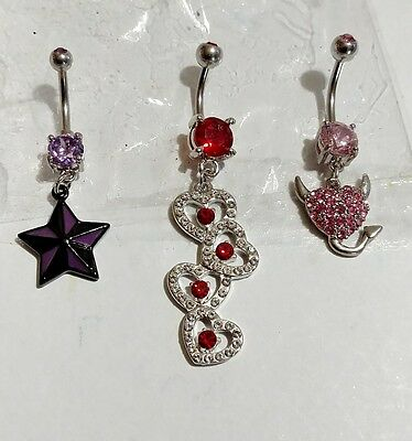 Lot of 3 Belly Button Ring Navel Set Piercing Body Jewelry Two Tone Star Devil