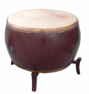 Chinese Brown Lacquer Drum Shape Table -