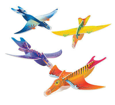 24 DINOSAUR Foam Airplanes Jets T-REX Birthday Party Favors Toy Prize Rewards - Dinosaur Party