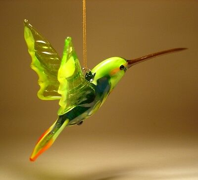 Blown Glass Figurine Bird Hanging Green, Yellow & Blue HUMMINGBIRD Ornament