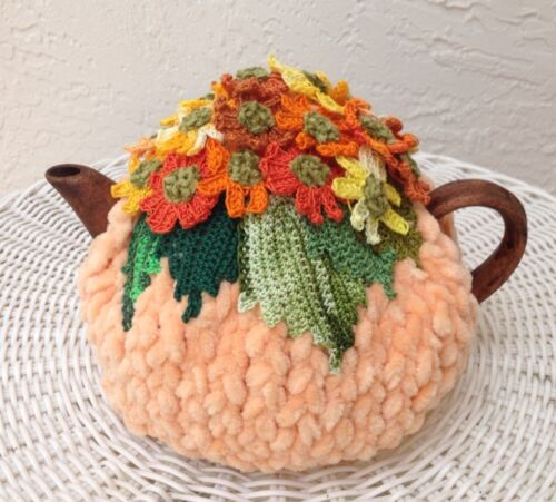 NEW  Handmade Tea Cozy Orange/Yellow Flowers ...