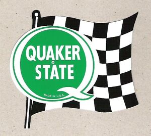 Quaker State Oil Racing Flag Sticker Vintage Sports Car