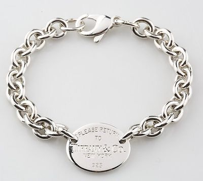 "Tiffany & Co. Sterling Silver 7 3/4"" Please Return To Oval Tag Bracelet in Box"